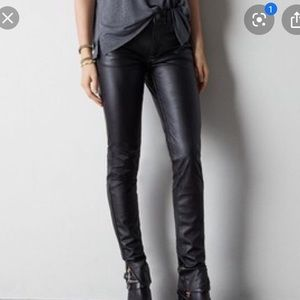 American eagle black faux leather hi rise jegging